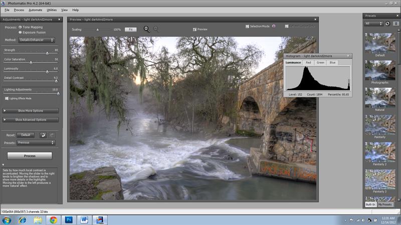 tone mapping menu photomatix