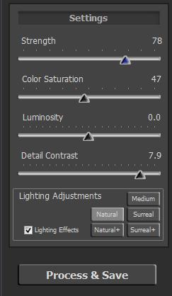 Chosen Tone Mapping Settings