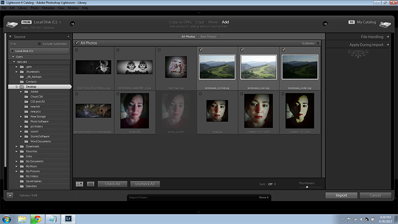 Import photos Lightroom Screenshot
