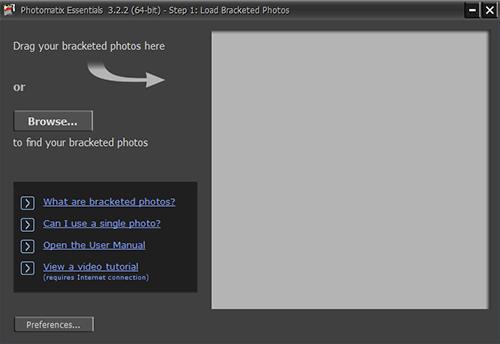 Opening Screen Photomatix Essentials