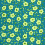 teal green yellow flower patter paper