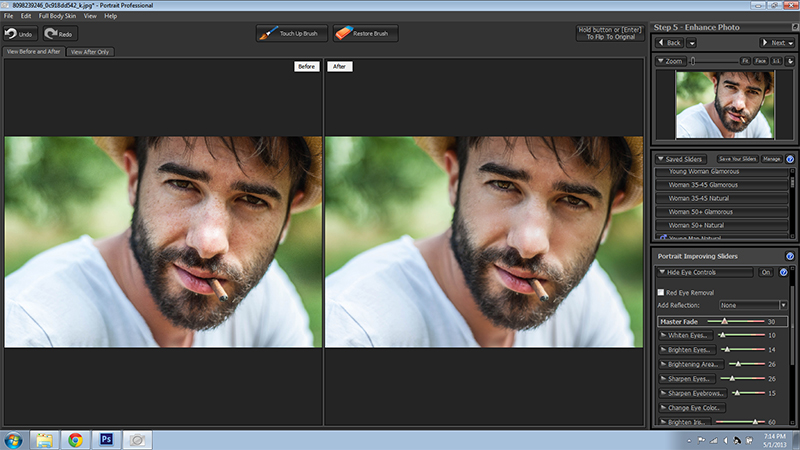 Male Portrait Retouch Before and After