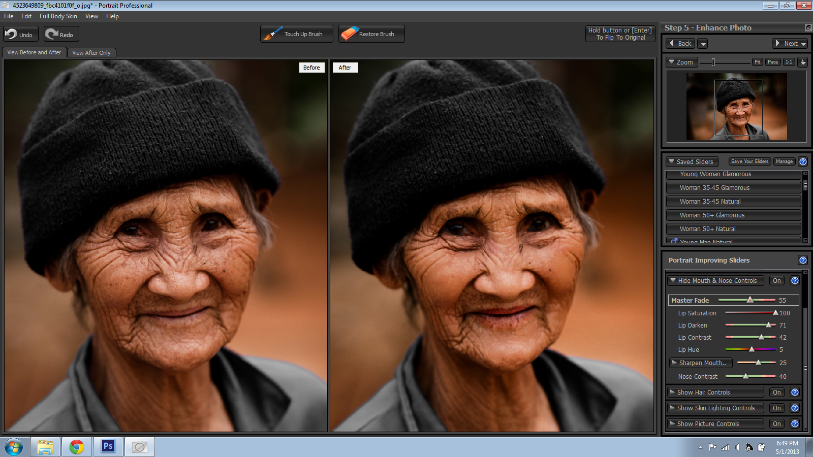 Old Woman Portrait Before and After
