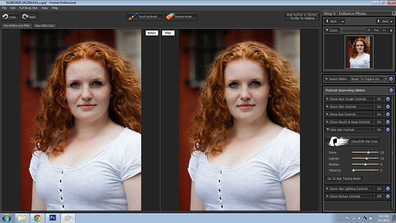 Redhead Portrait Professional Before and After