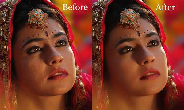 Indian Bride Topaz Labs Adjust 5 Before After