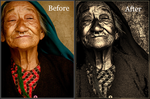 Old Lady Topaz Adjust 4 Before After